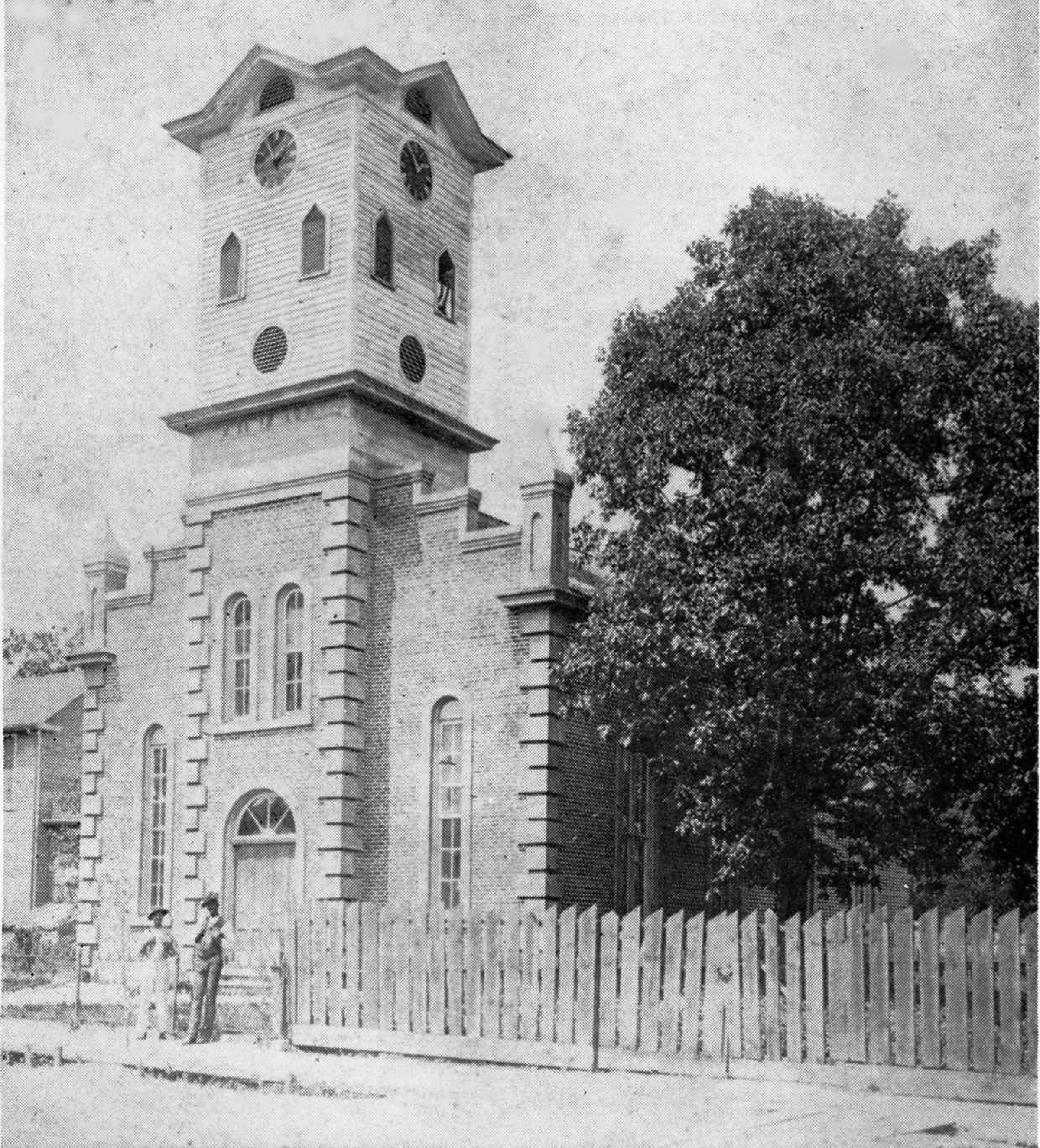 The 2nd Methodist church, once stood on Main Street, also housed the Rock Hill City clock in its tower.