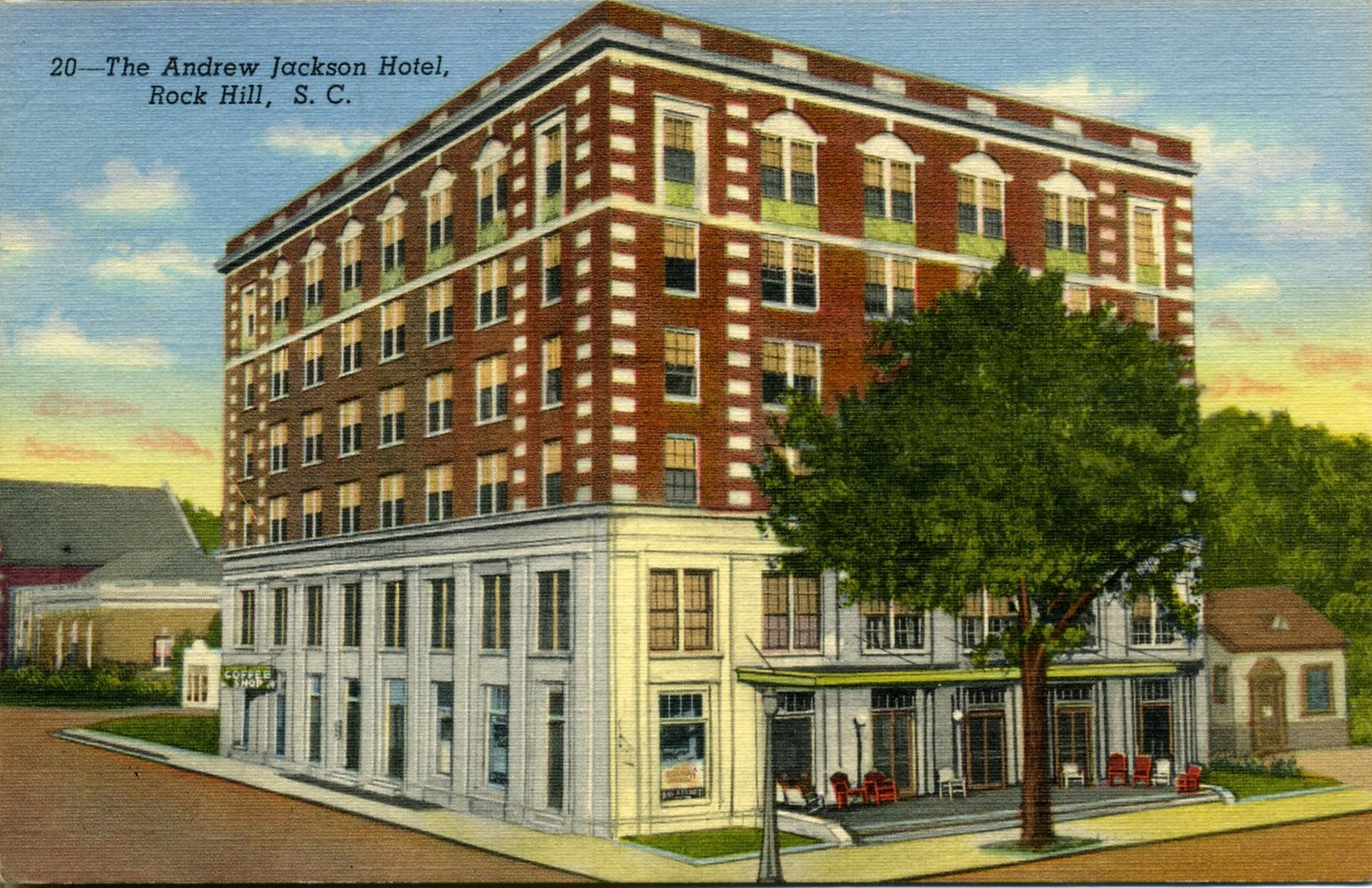 Postcard view of the old Andrew Jackson Hotel. Take note of the small building to the right of the hotel, reportedly the Roddey's kitchen, left when their home was razed to build the new hotel.