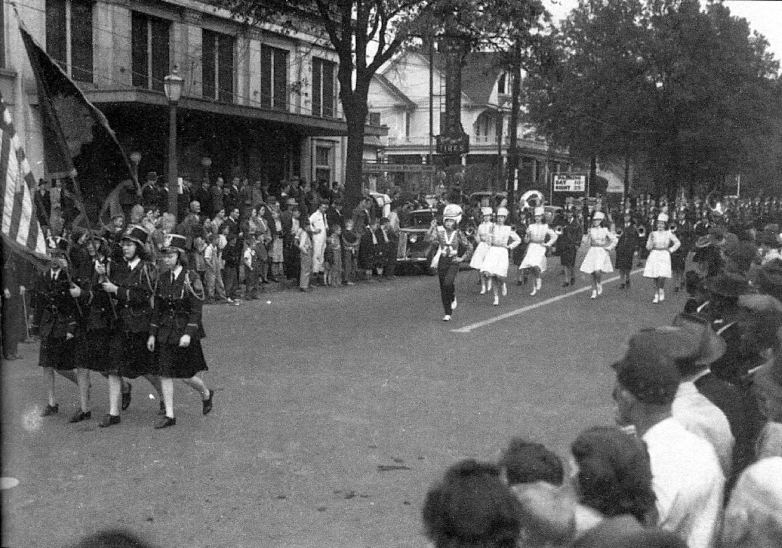 Rock Hill parade ca. 1940s showing the Andrew Jackson Hotel in the background (Lt), along with the Roddey House, what would later become the home of Bass Funeral Home. The funeral home later move to the Flower's home further out East Main Street.
