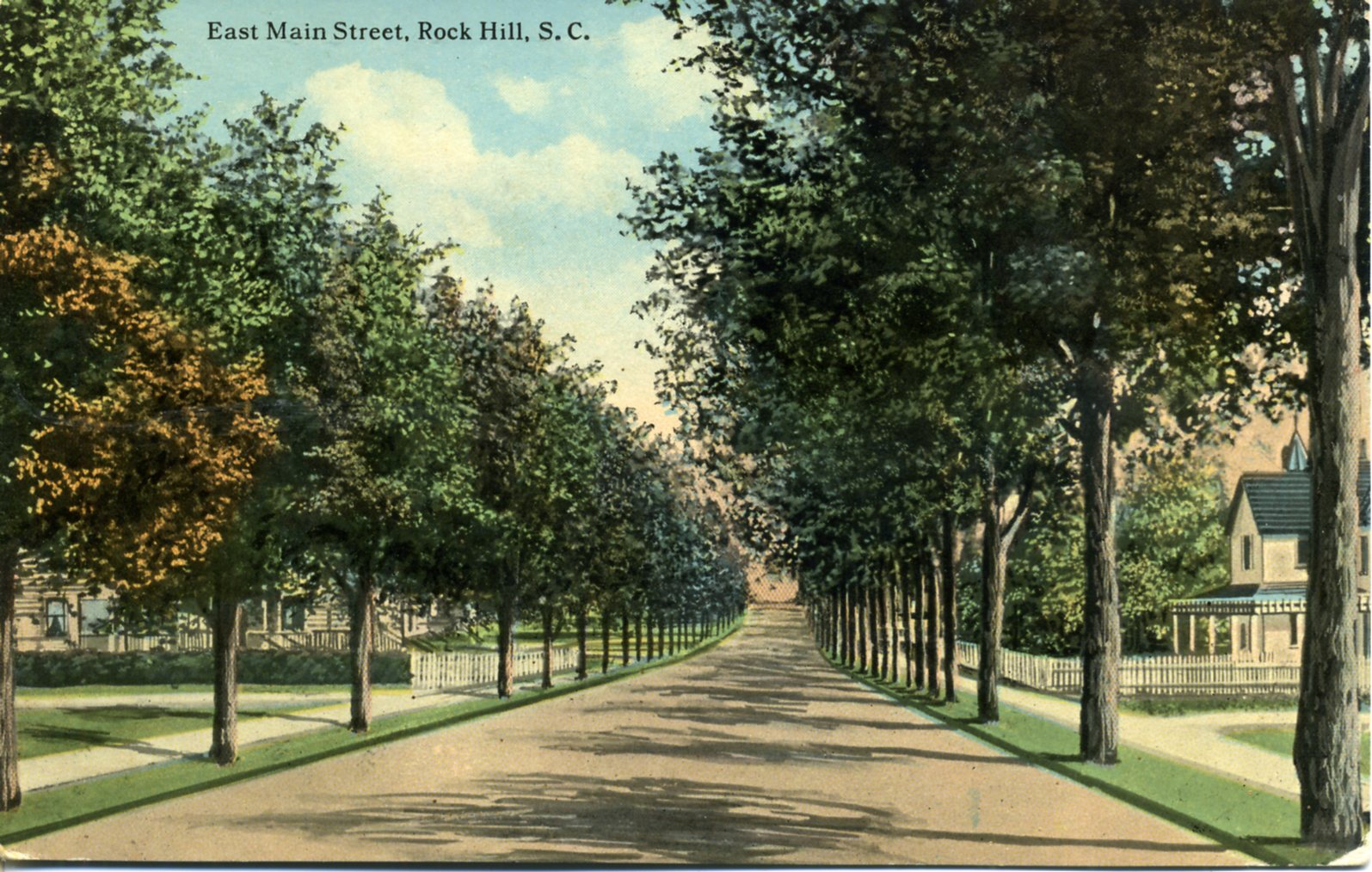 Enlarge this turn of the century postcard of East Main St., to see the facade of the Cobb House (rt).