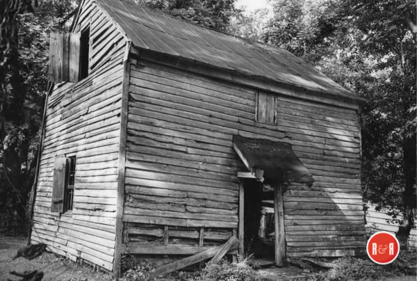 This old log cabin, which was on the White's property at the time of their purchase, may well be the oldest structure standing in Rock Hill. It served as the kitchen to the main house and was stabilized in 2017.  Courtesy of the Wm. B. White Collection
