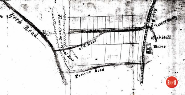 Mid 19th century map of downtown Rock Hill showing the original lots. The Poag home would have been constructed just east of the area showing a closed road between the fence line which had been enclosed and closed off by Ann H. White.