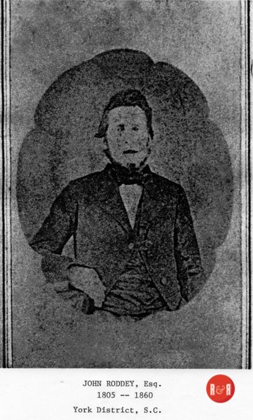 Rare image of Squire John Roddey, the surveyor who marked off the original town in ca. 1850.