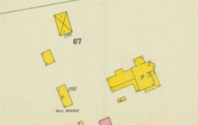 1910 Sanborn Map diagram of the Witherspoon Home complex which took up the entire East White Street block.