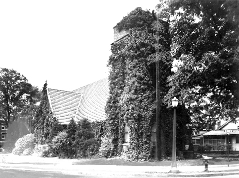 Early view of the church, showing the residential area to the right, ca. 1900.