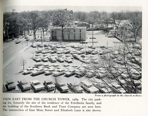 The Cobb House was demolished in the late 1960s to make room for the Southern Bank and Trust Building seen here. The Friedheim Home had been razed to make room for the parking lot.
