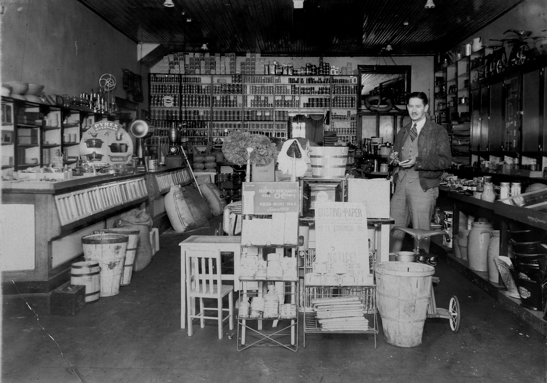 """J.B. Mills inside his store. The Fort Mill Times reported on Feb. 26, 1920 - """"J.B. Mills and Co., has received another shipment of Kentucky mules and horses."""""""