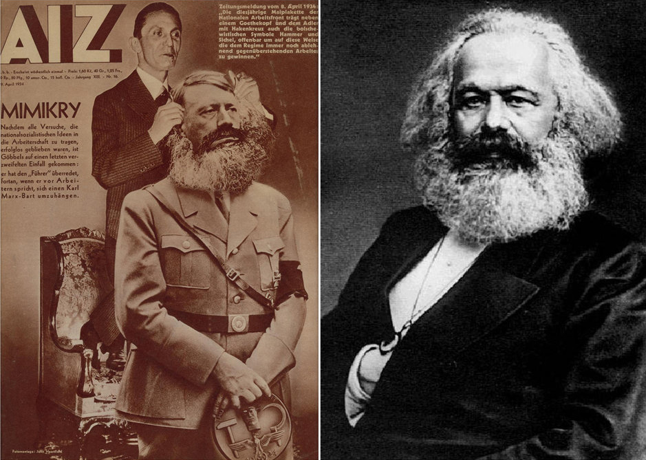 Figure 6 : John Heartfield, Mimicry , 1934 (left): an early artistic     appropriation of Mayall's photograph. John Mayall, Portrait of Karl Marx , 1875 (right).