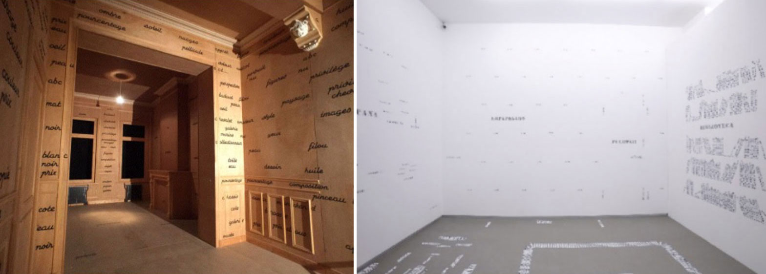 Left: Marcel Broodthaers,  The Clean Room  (1975). Right: Luis Camnitzer,  The Living Room  (1969). Resonating installations: texts presented as displacements of images
