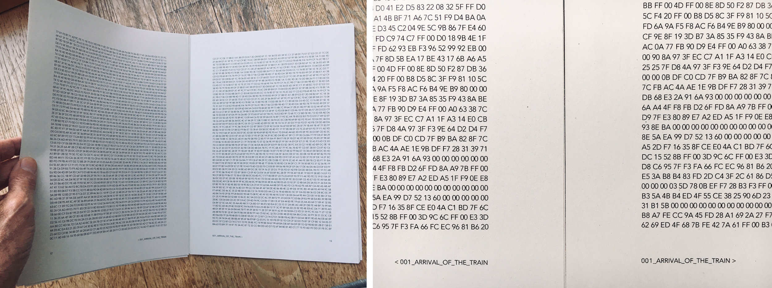 "Initial test print of ""hex book"" for the  Lost Grids. Sample pages of < 001_Arrival_of_the_Train > laid onto A4 newsprint sheets."