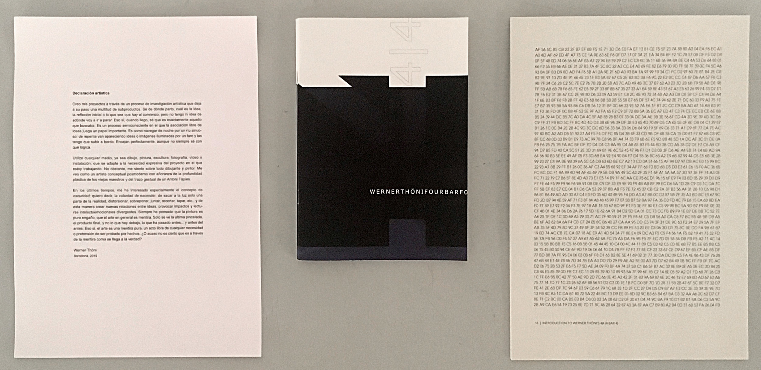 Statement, Booklet, and Opening Text for 4|4<VU (Werner Thöni)