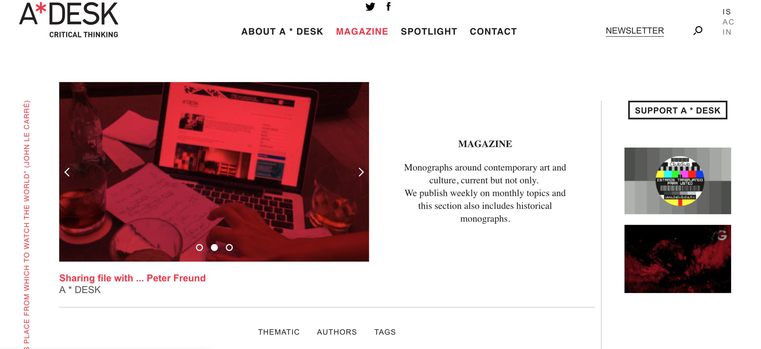 A*DESK website landing page (Magazine, 26 August 2019):  https://a-desk.org
