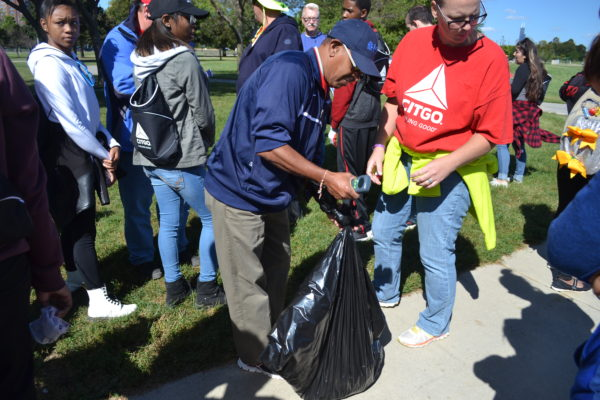 CITGO volunteers weighing collected trash