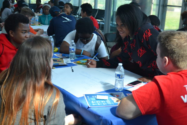 Students discuss ideas in groups and make pledges to the parks