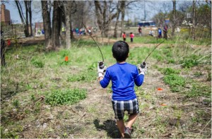 Volunteers of all ages joined in for a tree planting event at Burnham Nature Sanctuary