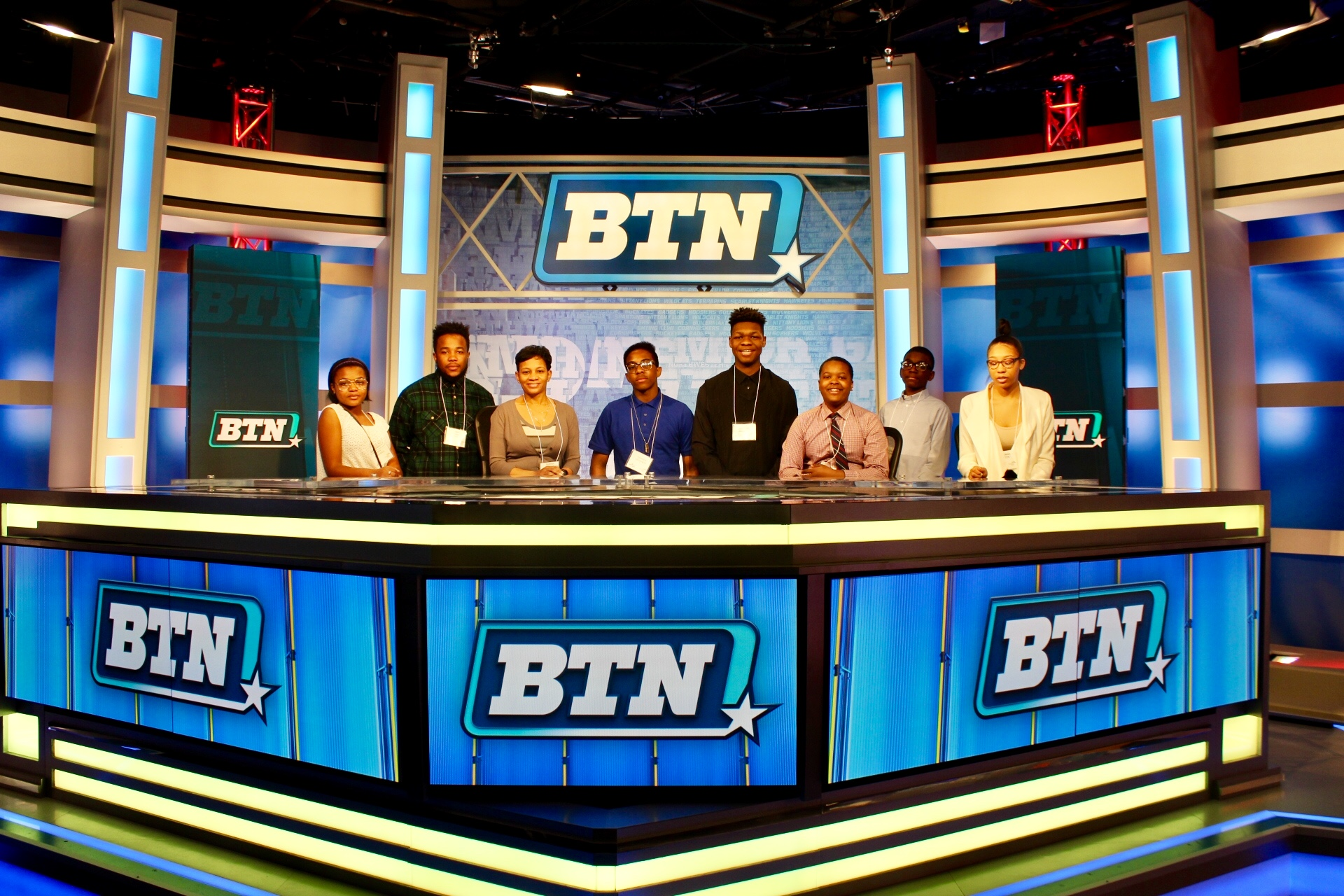 Looking camera ready on the Big Ten Network studio set