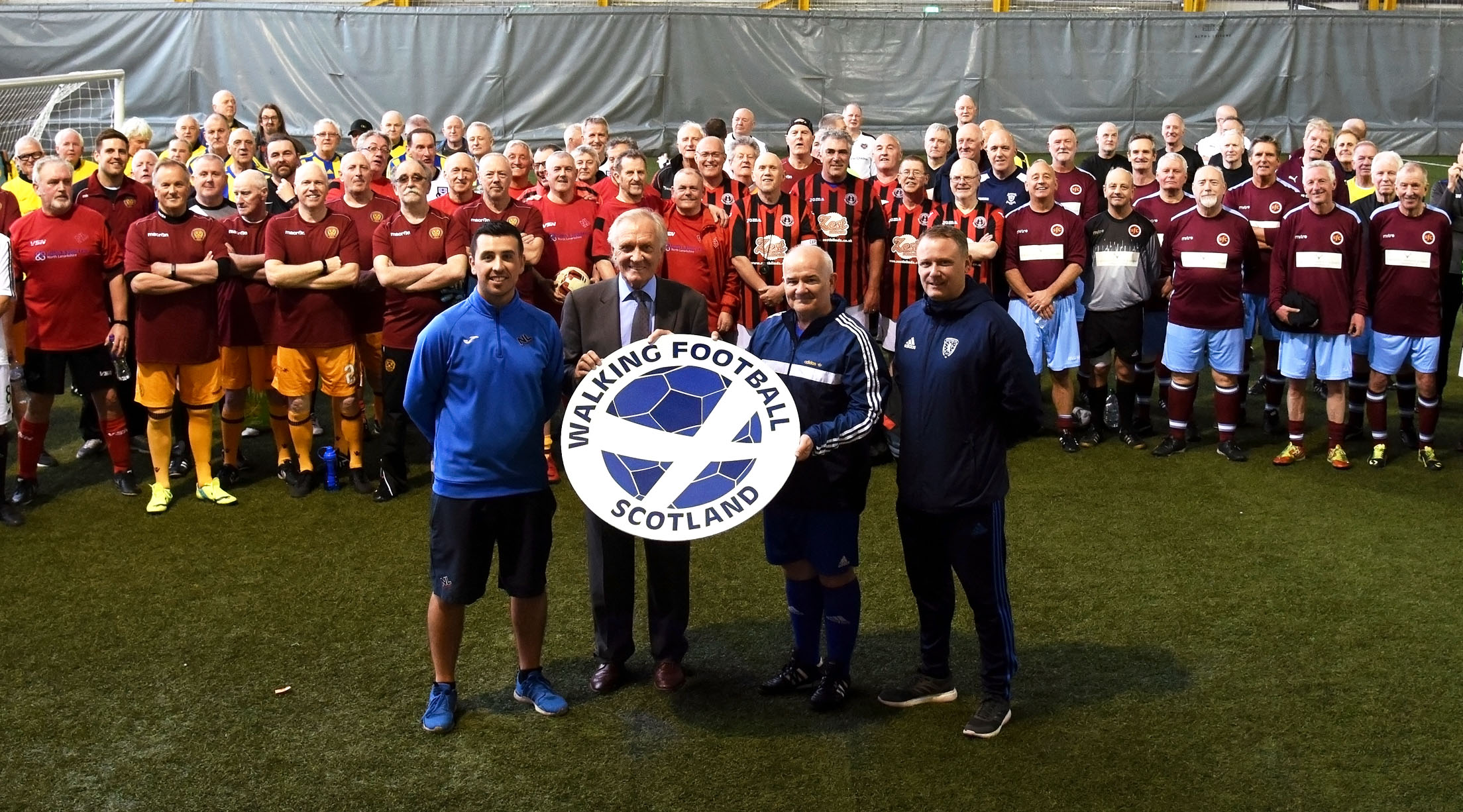 Front left: Scott Currie North Lanarkshire Leisure, Scottish football legend David Hay, Gary McLaughlin Chairman of Walking Football Scotland and Stevie Hamilton North Lanarkshire Leisure.