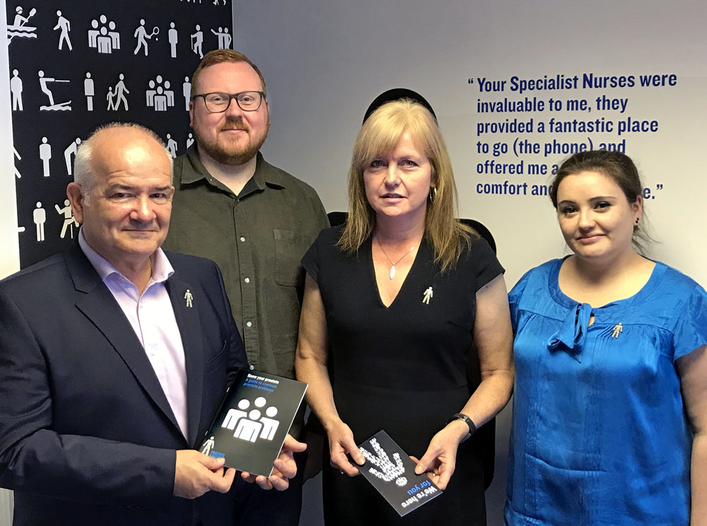 l-r WFS Chairman Gary McLaughlin meeting Gerard McMahon Change Delivery Officer, Angela Culhane CEO and Bronwyn O'Riordan Fundraising Manager - Scotland of Prostate Cancer UK.