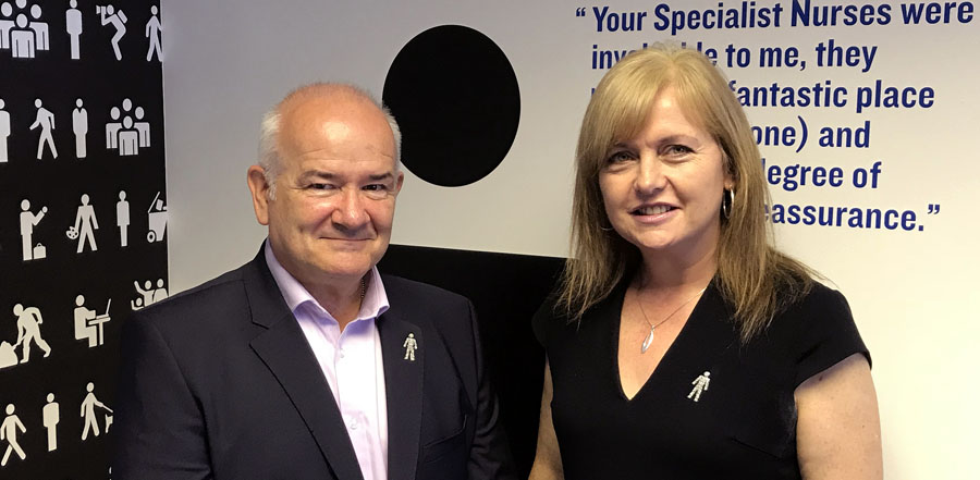 WFS chairman Gary McLaughlin and Angela Culhane, Chief Executive Officer, Prostate Cancer UK in Glasgow.