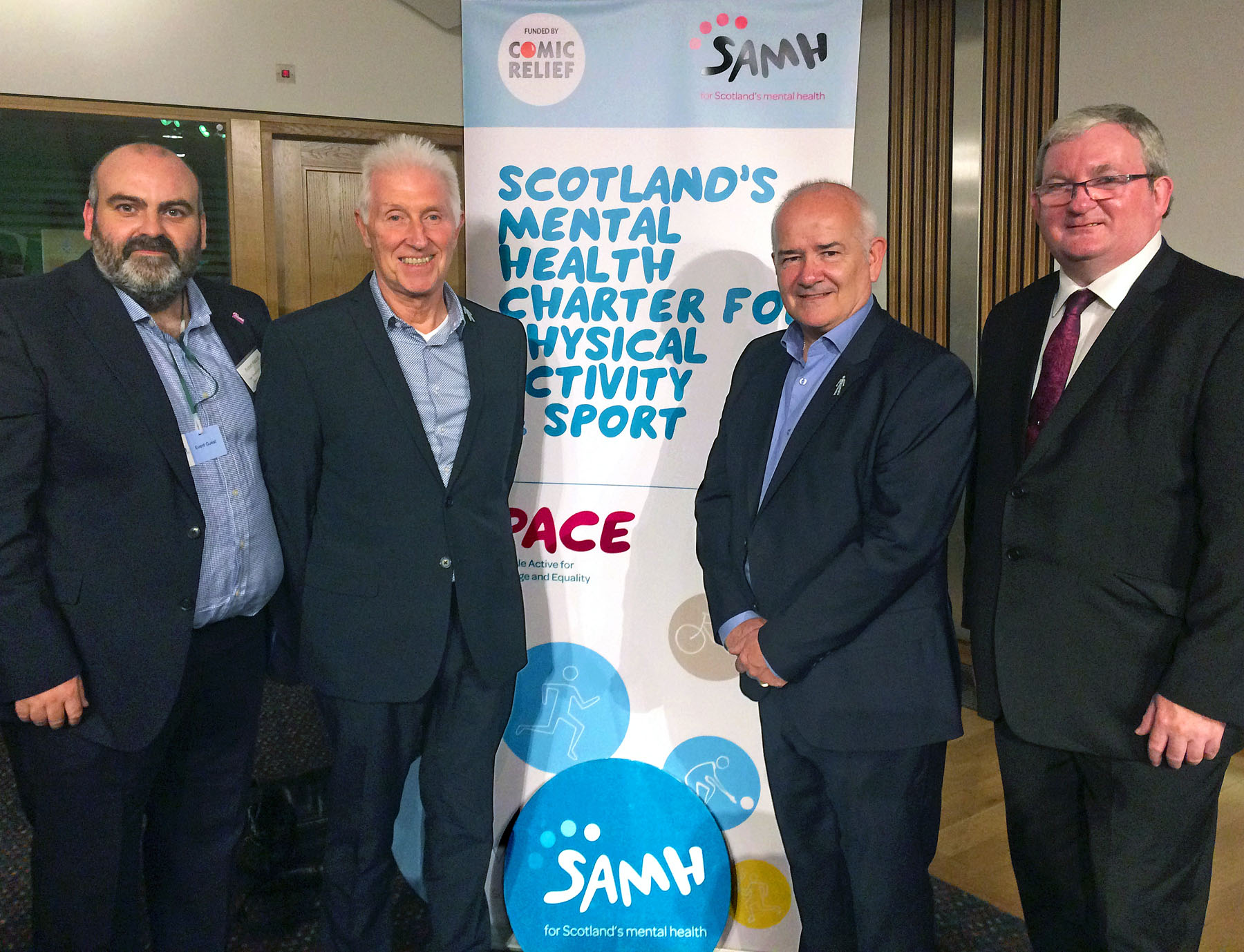 l-r Robert Nesbitt SAMH, Colin Mackay, Gary McLaughlin and Angus MacDonald MSP
