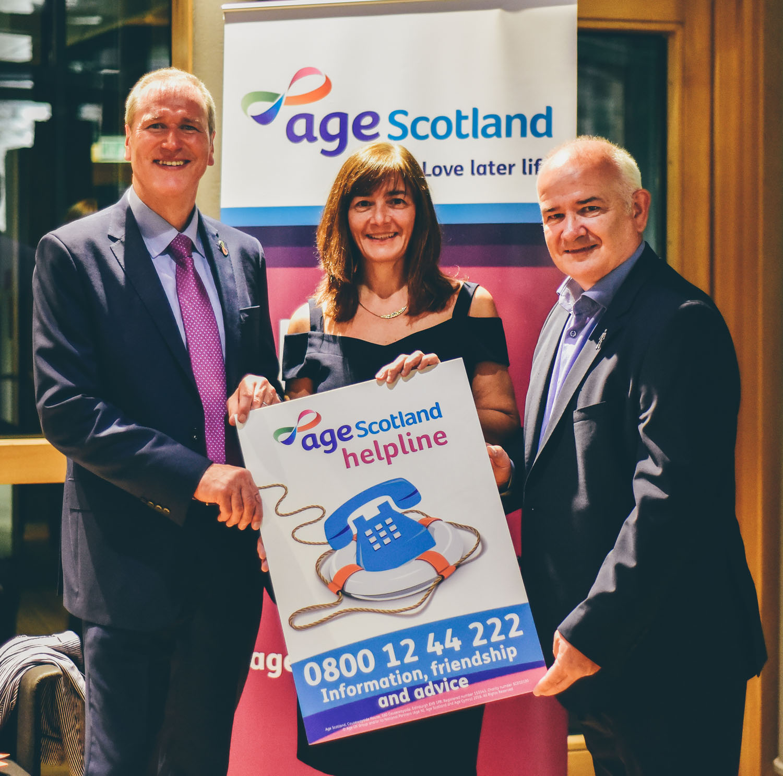 Walking Football Scotland Trustees with Age Scotland CEO Brian Sloan  l-r Brian Sloan, Vivian Wallace and Gary McLaughlin