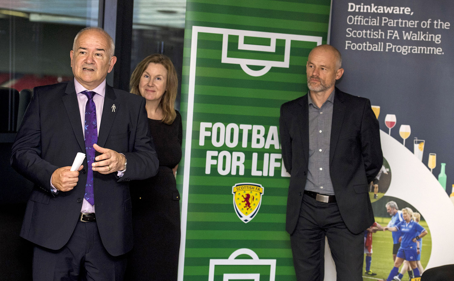 FOOTBALL FOR LIFE  l-r Gary McLaughlin, Elaine Hindal and Andy Gould at the launch
