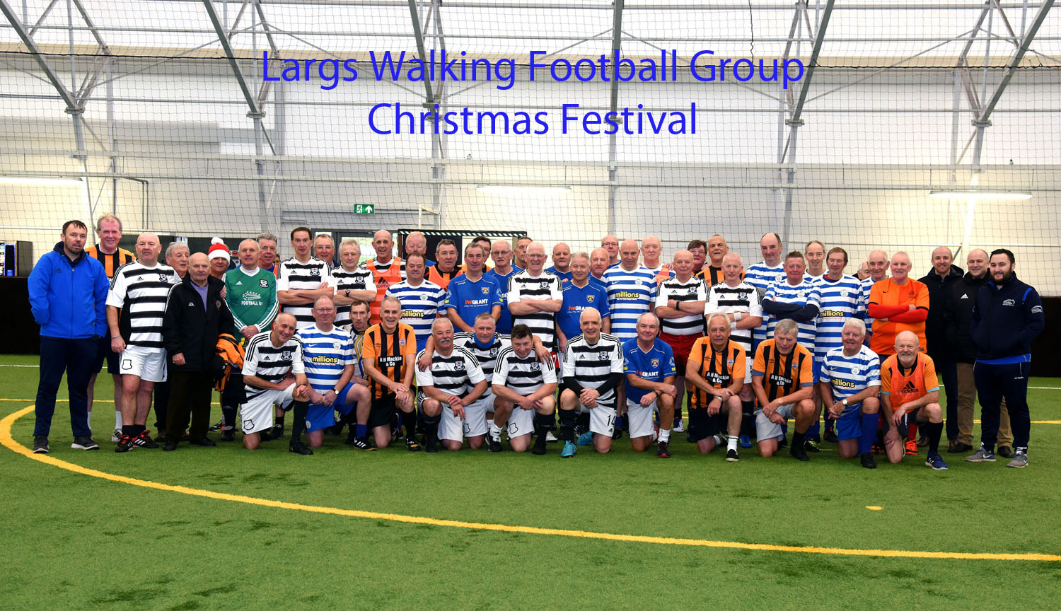 The teams who took part in the first walking football festival held in Largs.