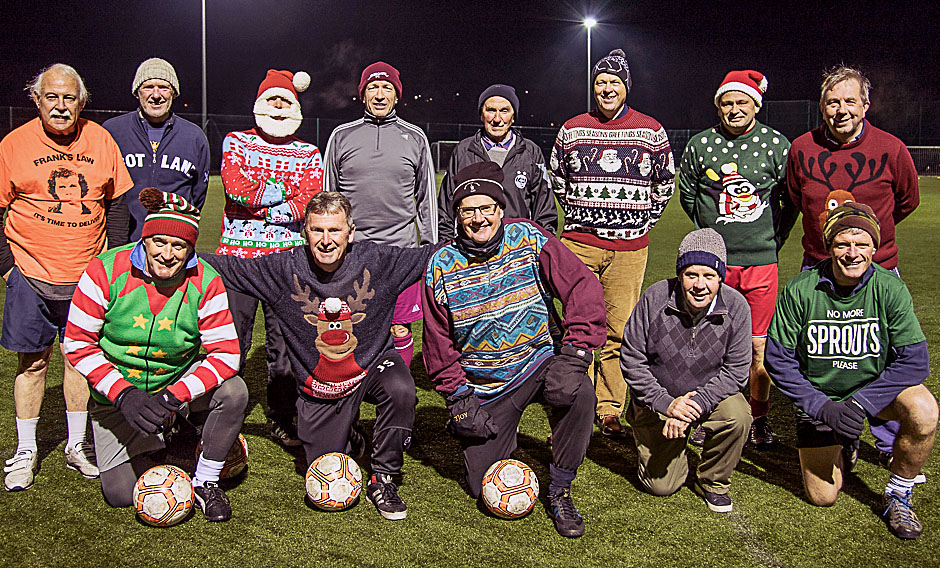 Santa's helper joined the Kirriemuir squad for a walking football session.