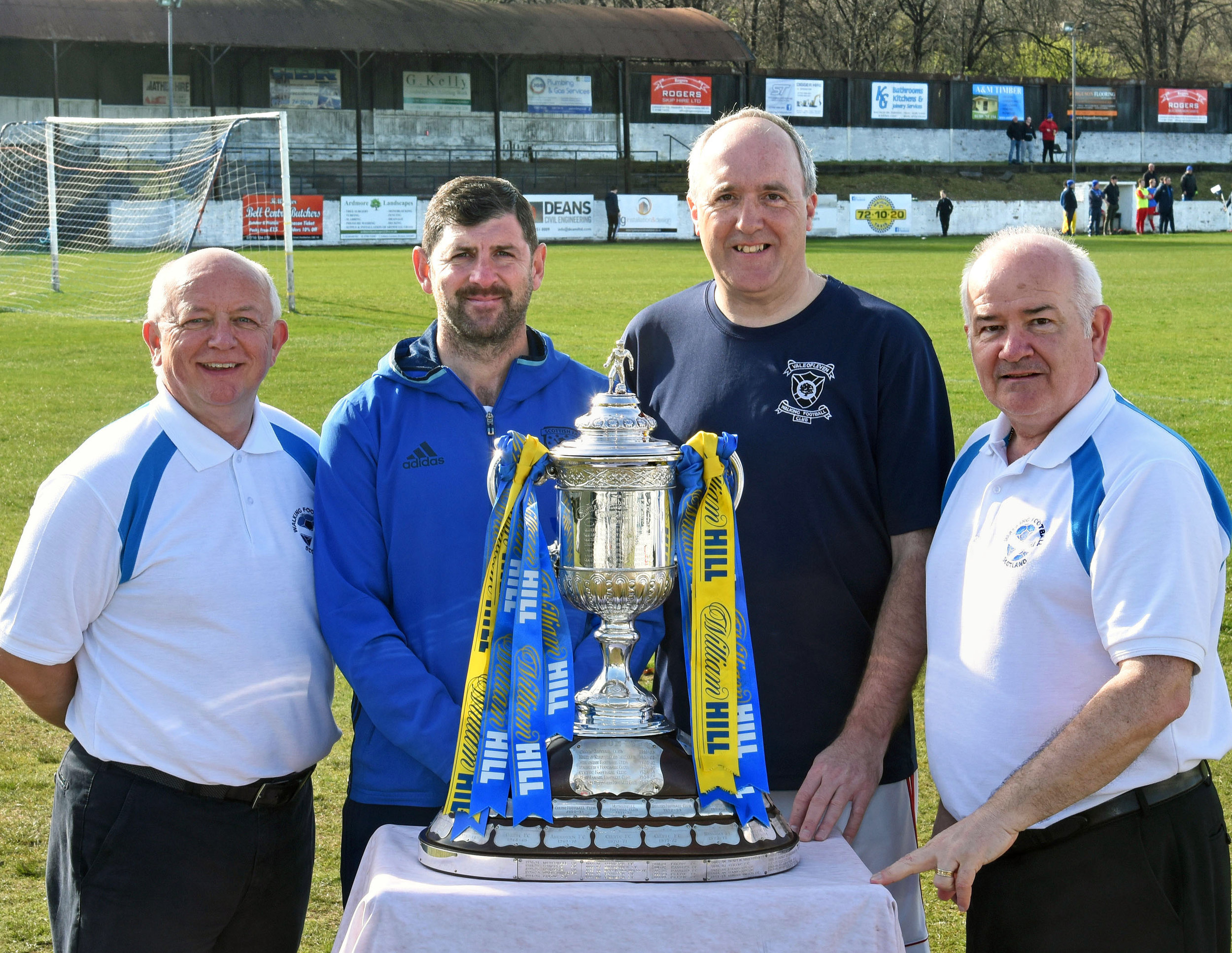 l-r Walking Football Scotland Treasurer, David Hyland, Alan Morgan, Central Region Manager, Scottish FA, Phil Dawson, Vale of Leven Walking Football Club and Gary McLaughlin, Chair of Walking Football Scotland.