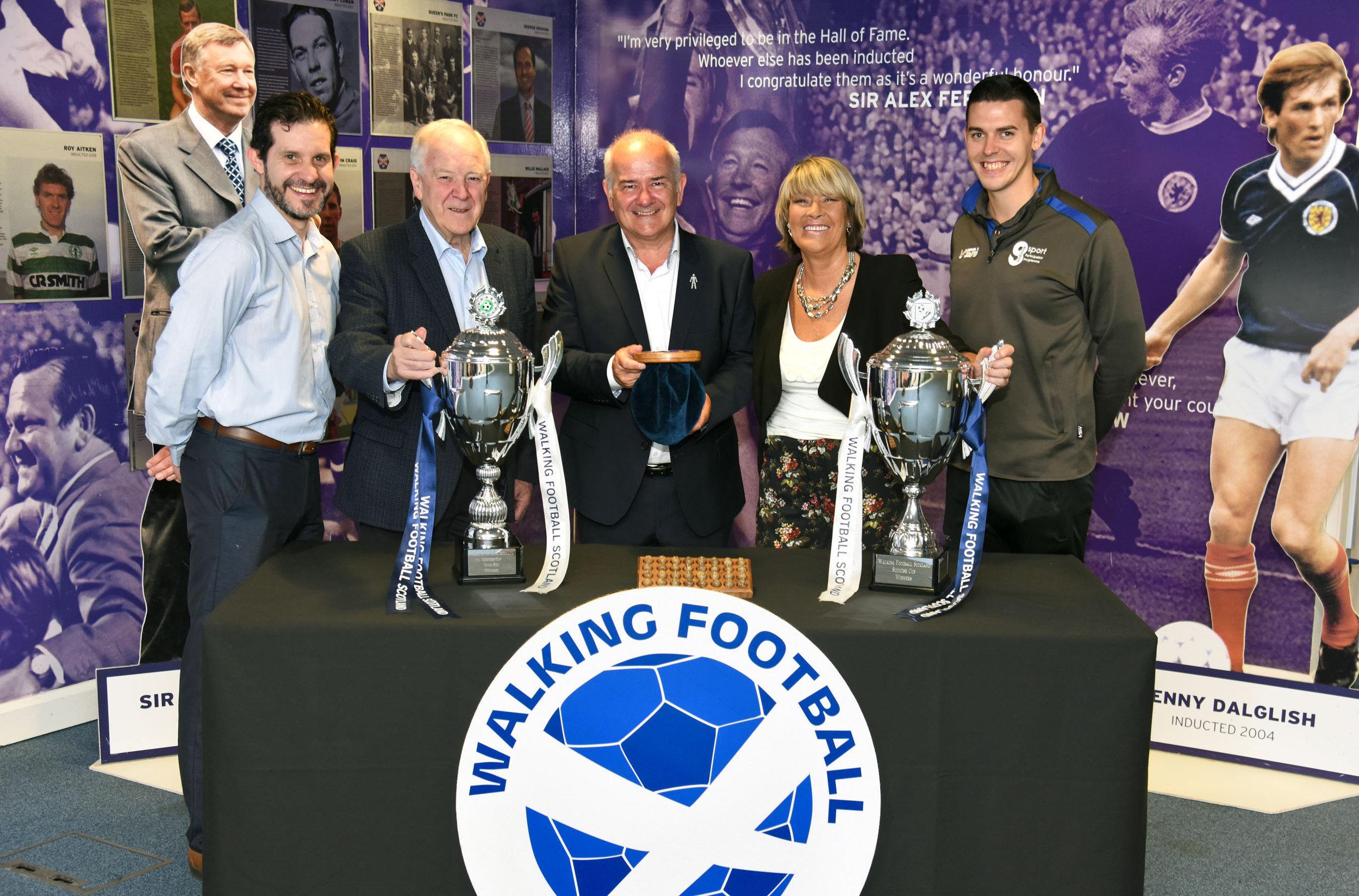 l-r Paul McNeil, Scottish FA, Craig Brown, Gary McLaughlin, Rose Reilly and Matt Ramsay.