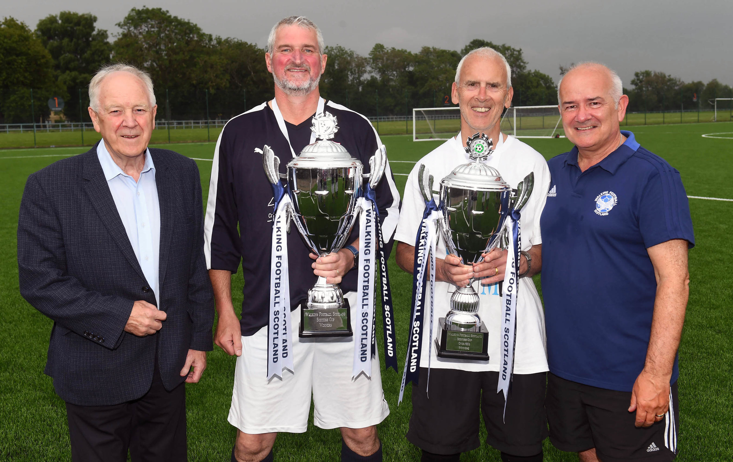 Presentation of the Walking Football Scotland Scottish Cups  l-r Craig Brown, Willie Carroll Raith Rovers, Bill McConnell Kirkcaldy and Gary McLaughlin WFS Chair