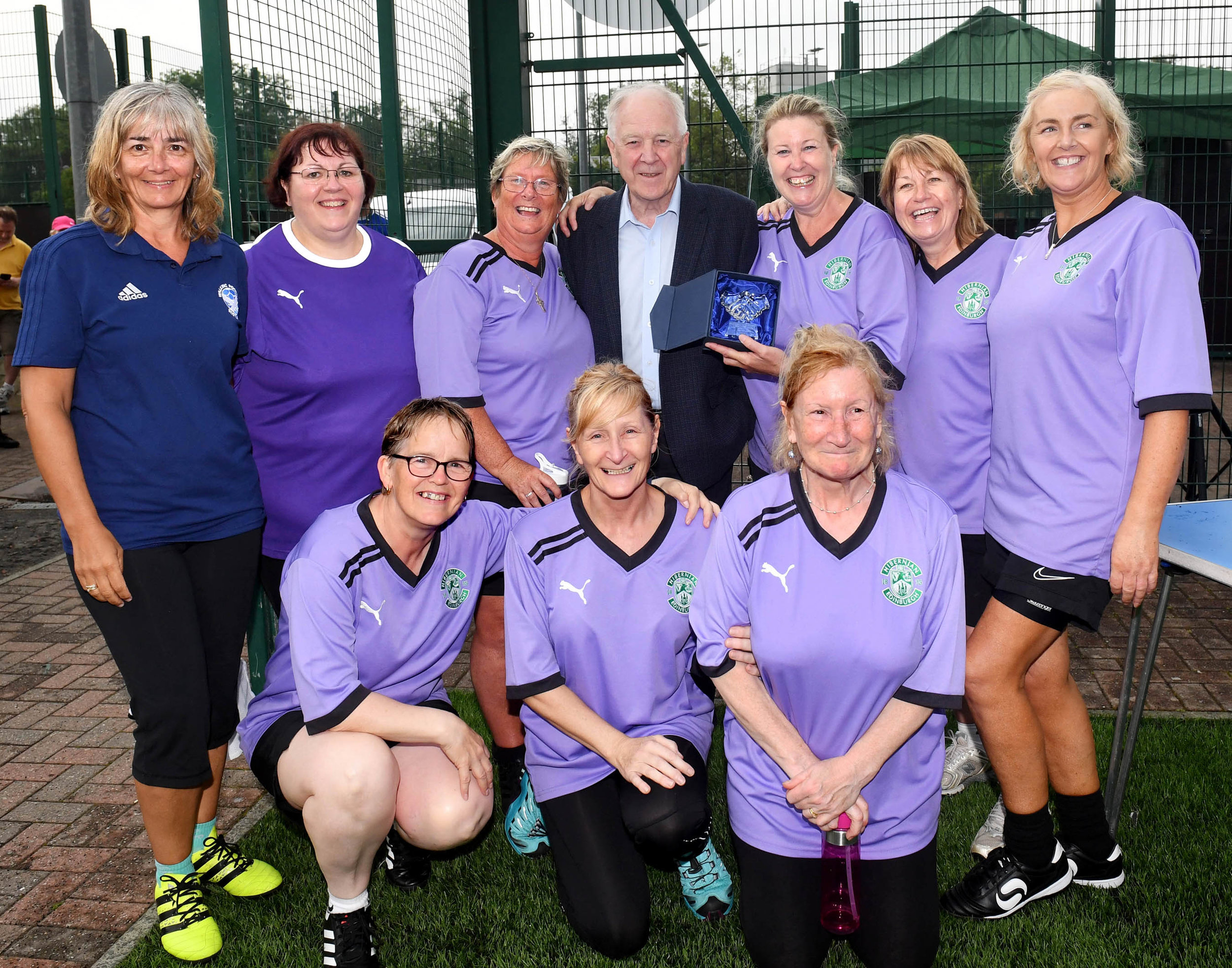 Midlothian Ladies winners of the Fair Play Award in the Festival with Craig Brown and WFS Trustee Vivian Wallace