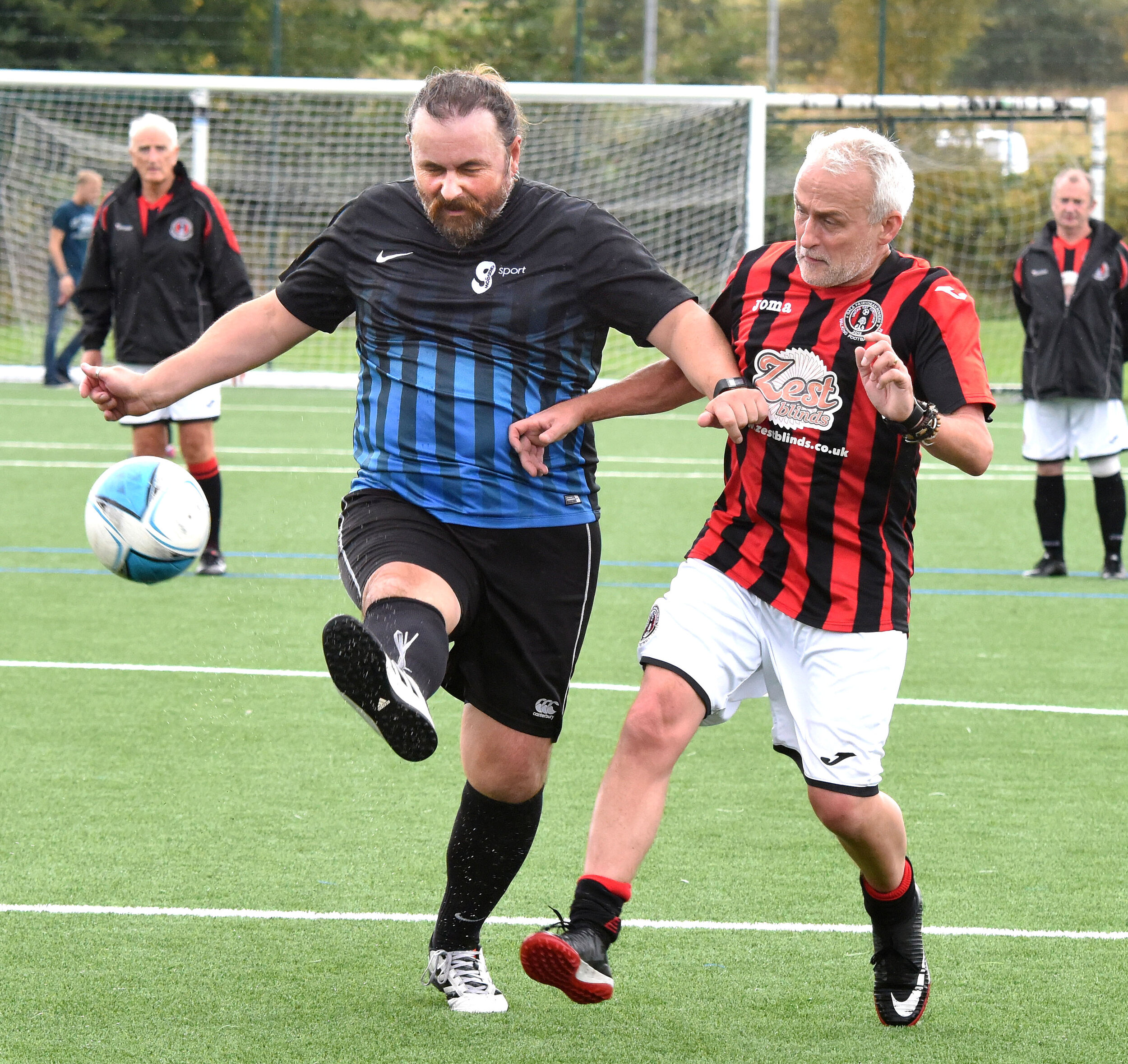 Action from Glasgow Sport West (black/blue) V Gala Fairydean Rovers