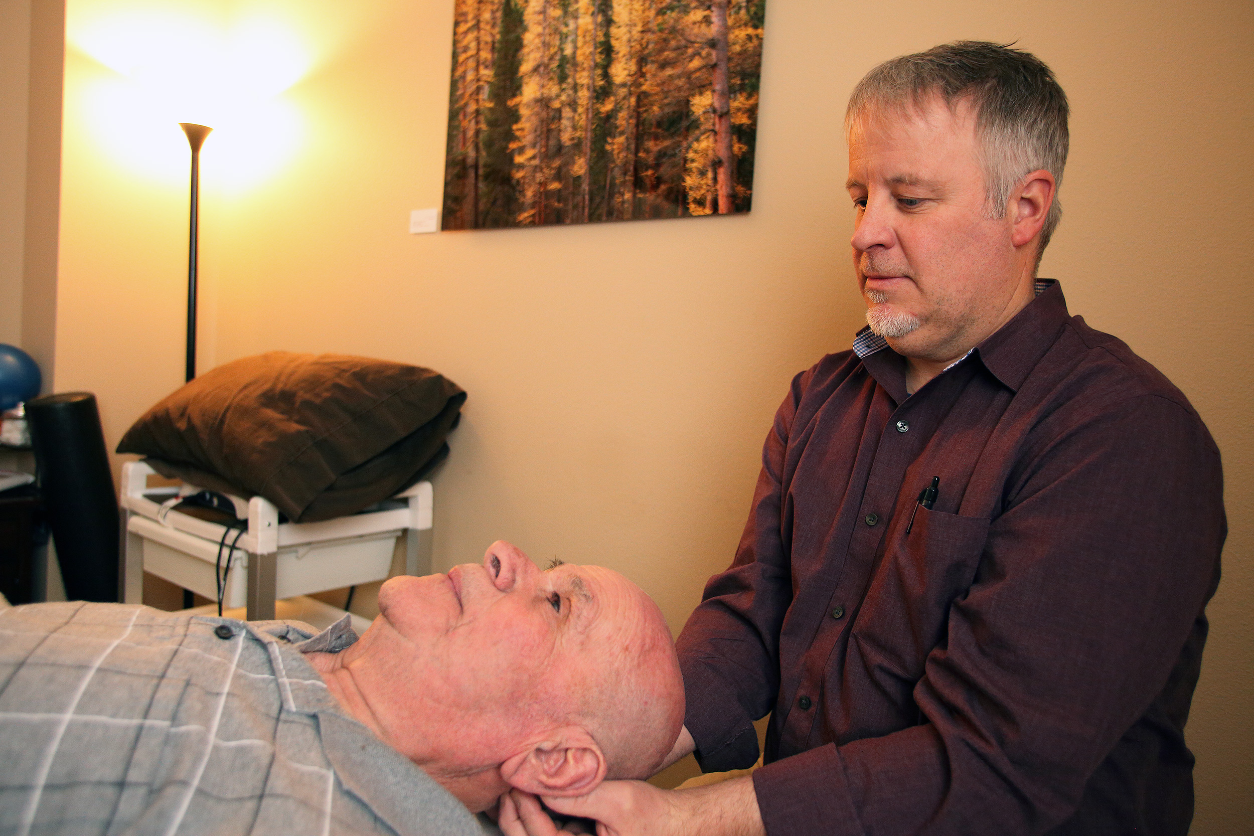 Private treatment rooms enhance the calming effects of Craniosacral techniques to unlock chronic pain patterns.