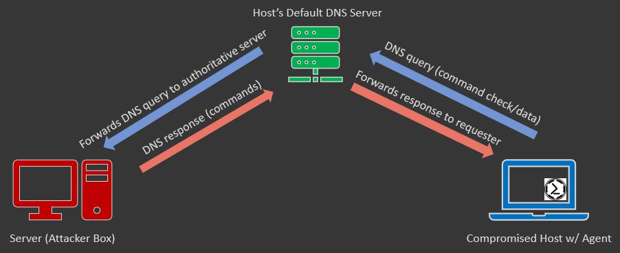 Basic DNS C2 traffic flow.