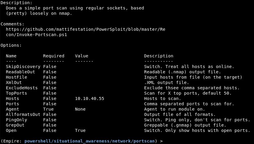 Empire's  network/portscan  module options.