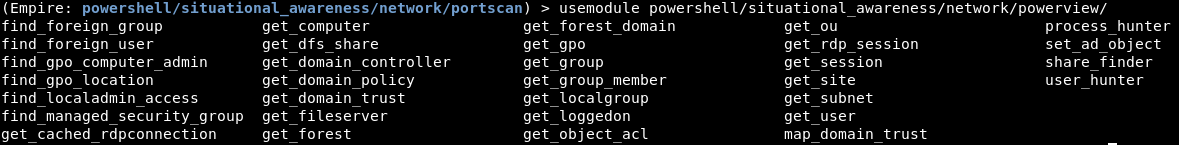 PowerView based modules which focus on Active Directory enumeration.