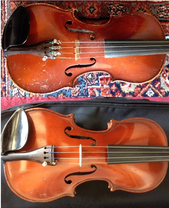 Before and After. Yes - this is the same violin - Sarah is a magician!