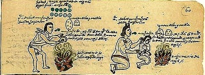 Codex Mendoza: Aztec Child Rearing and Chile Smoke. Image retrieved in the Public Domain from this [ link ].