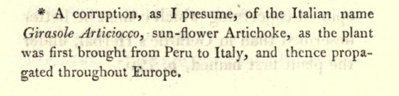 Image: The Footnote that Launched a Universal Dogma.  This footnote was a mere side-thought of Sir J. E. Smith. Such was his reputation that this guess has been given gospel status for over 200 years. Notice the false assumption that H. tuberosus was brought to Europe via South America.