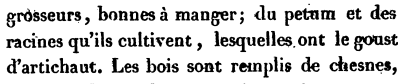 A quote From Voyages du sieur de Champlain, ou, Journal ès découvertes de la Nouvelle France (1605).    This is a first-hand account by  Samuel de Champlain speaking of native Americans cultivating roots that had the flavor of artichoke. He is widely agreed to have been referring to H. tuberosus.