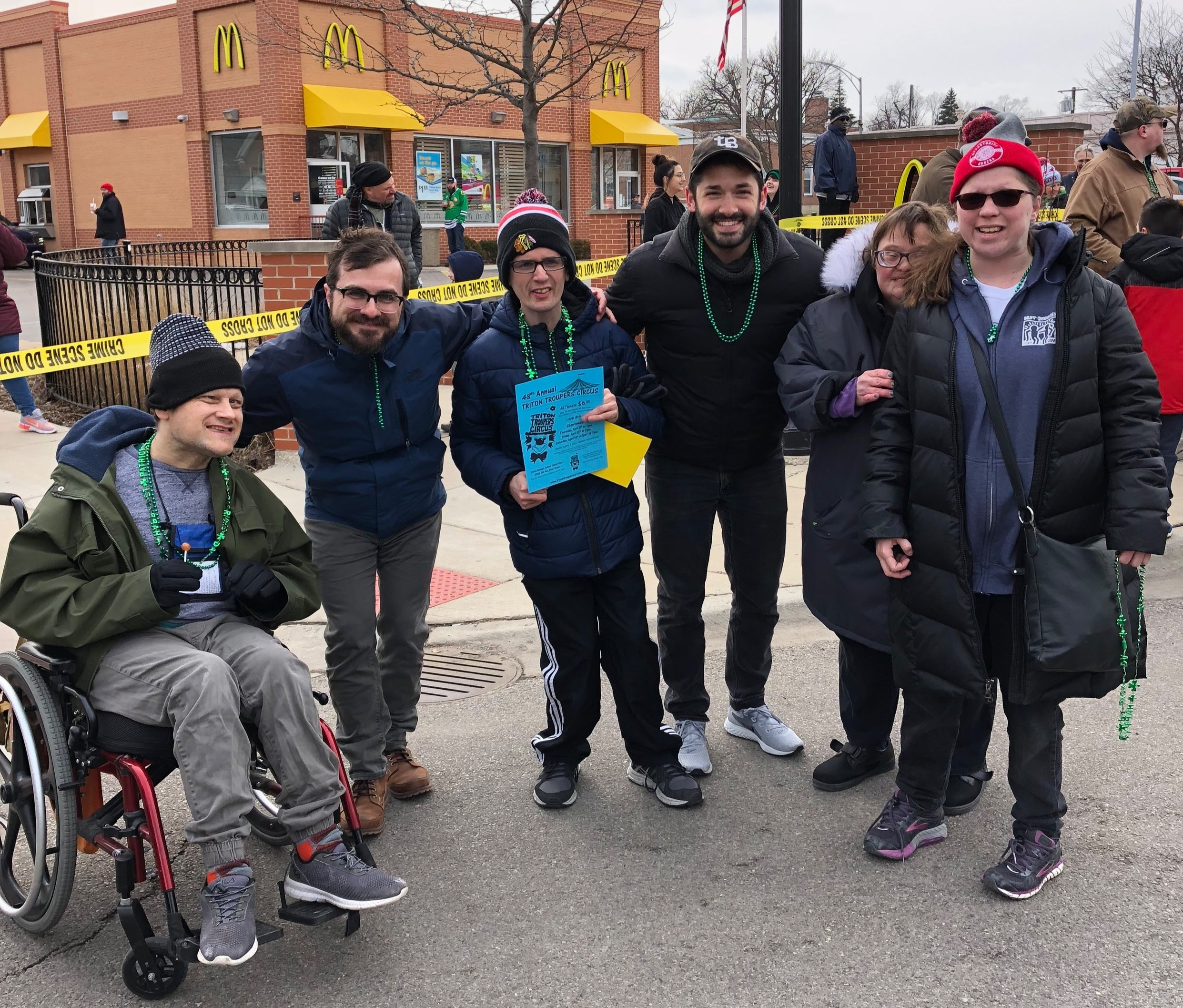 Photo taken during the St. Patrick's Day parade at River Forest [Nate Sullivan is 3rd from the right]