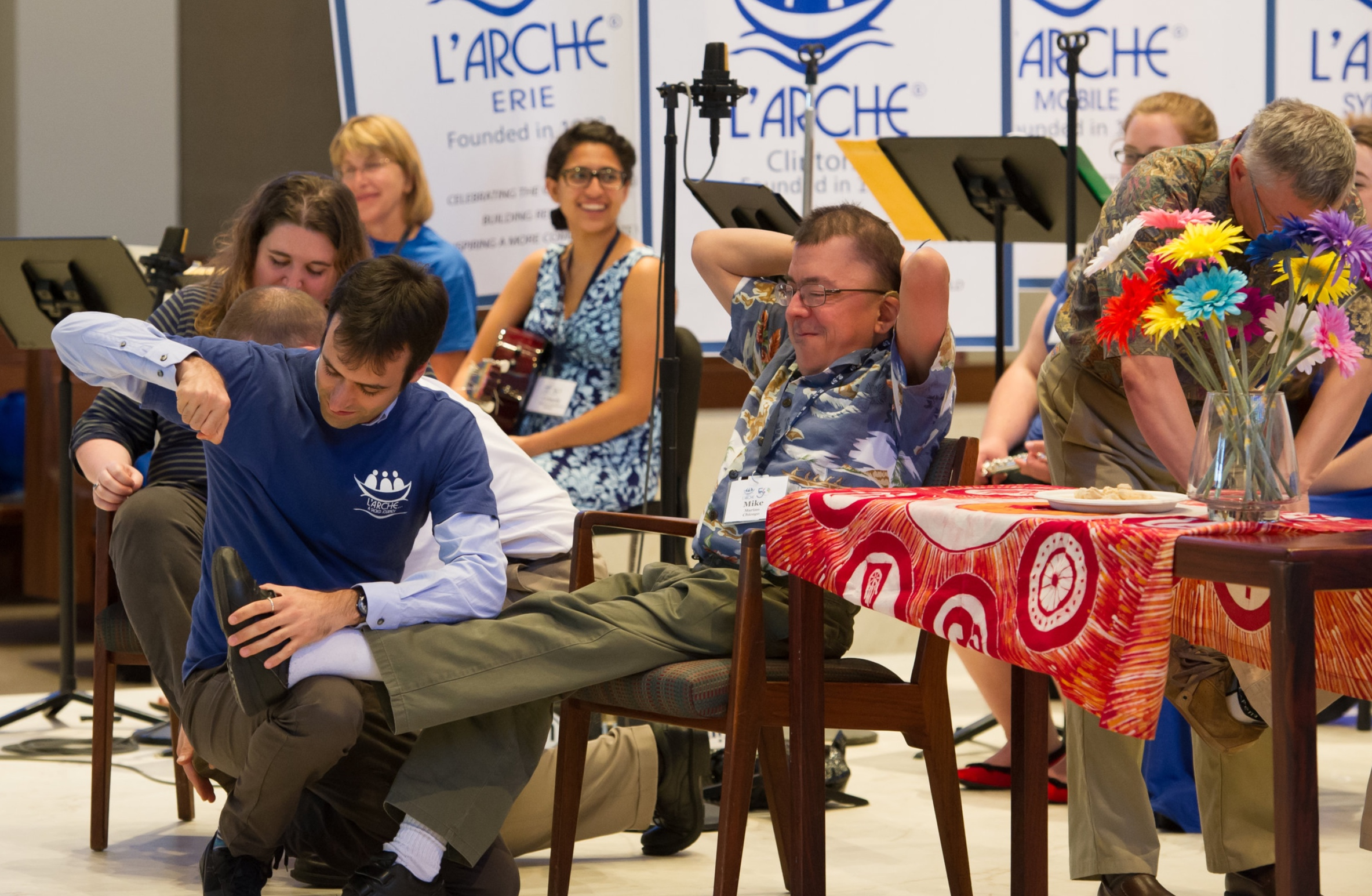 Luca (left) with Mike (right) at L'Arche USA Jubilee Celebration in 2015