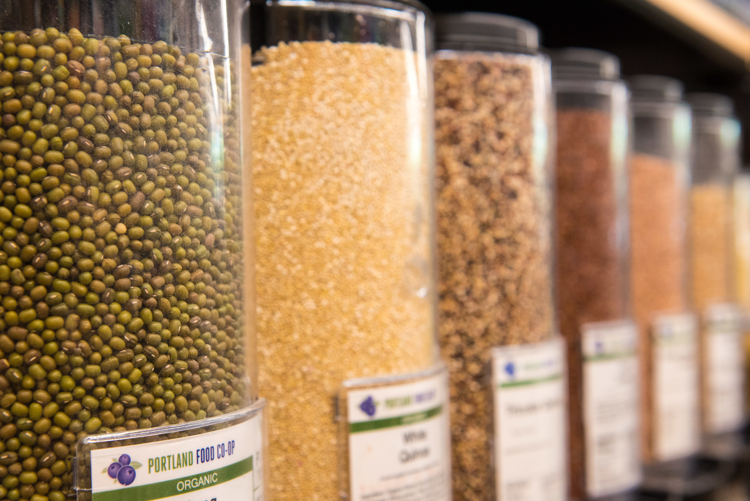 Bulk - Our bulk section is a robust mix of over 100 varieties of dried goods including beans, legumes, nuts, seeds, cereals, flours, fruit, sweets, and coffee.