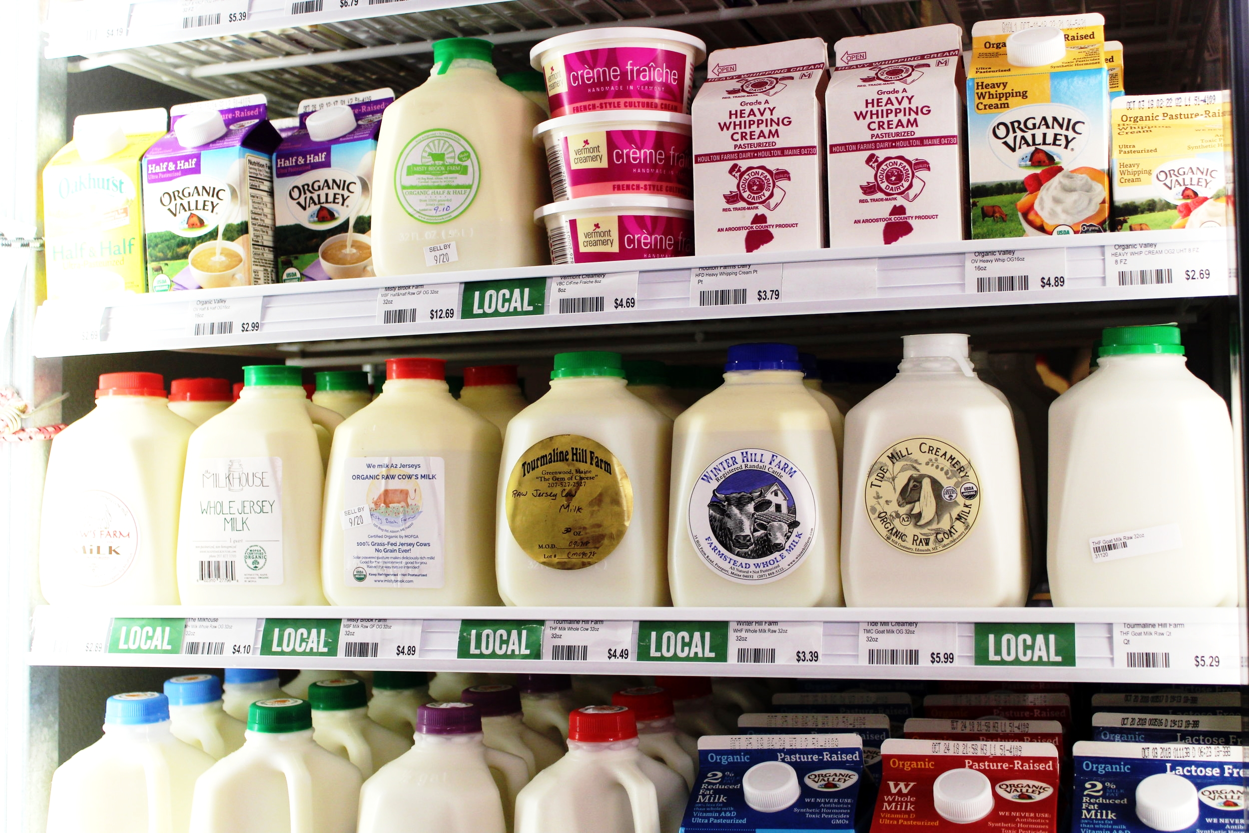 Meat & Dairy - We are incredibly proud of our dairy selection, which has products, including raw milk, from over a dozen local farmers. Lots of local farms are represented in our egg and meat sections as well.