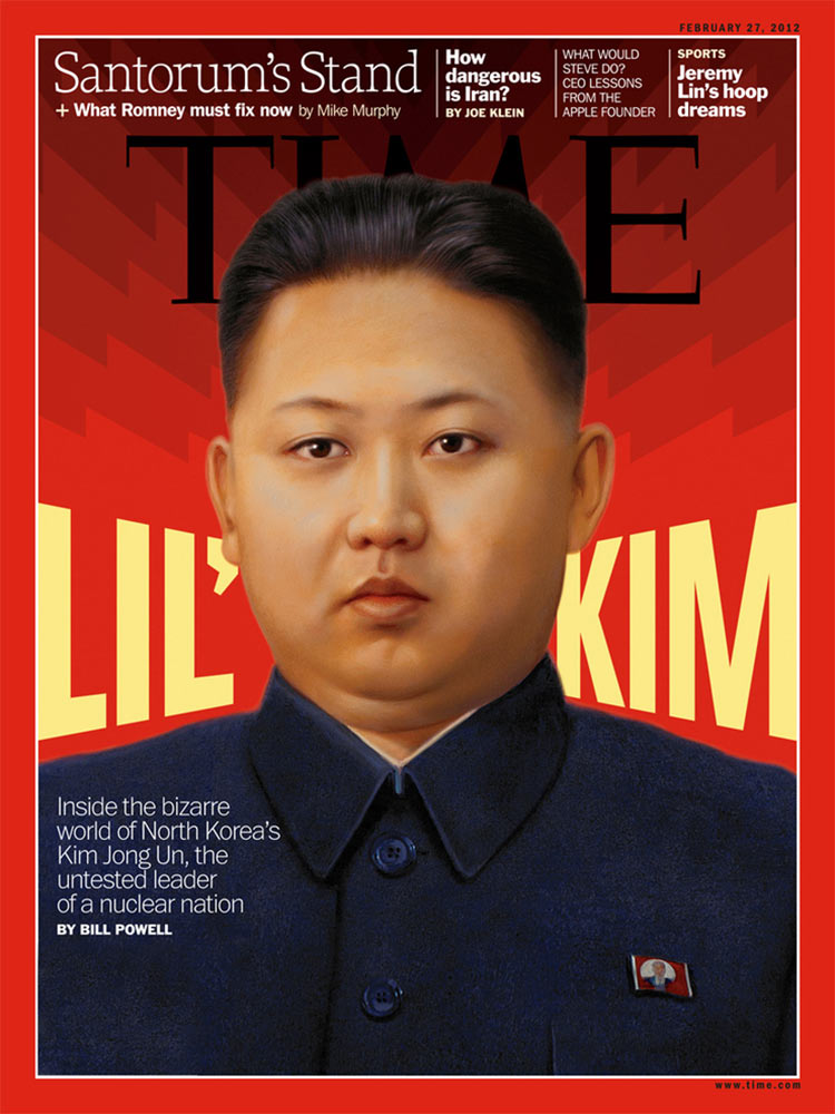 This layout and background design were loosely inspired by North Korean propaganda posters, while our custom lettering had to maintain the look of Franklin Gothic (Time's type family). Portrait of Kim Jong Un: Tim O'Brien. Art Director: D.W. Pine
