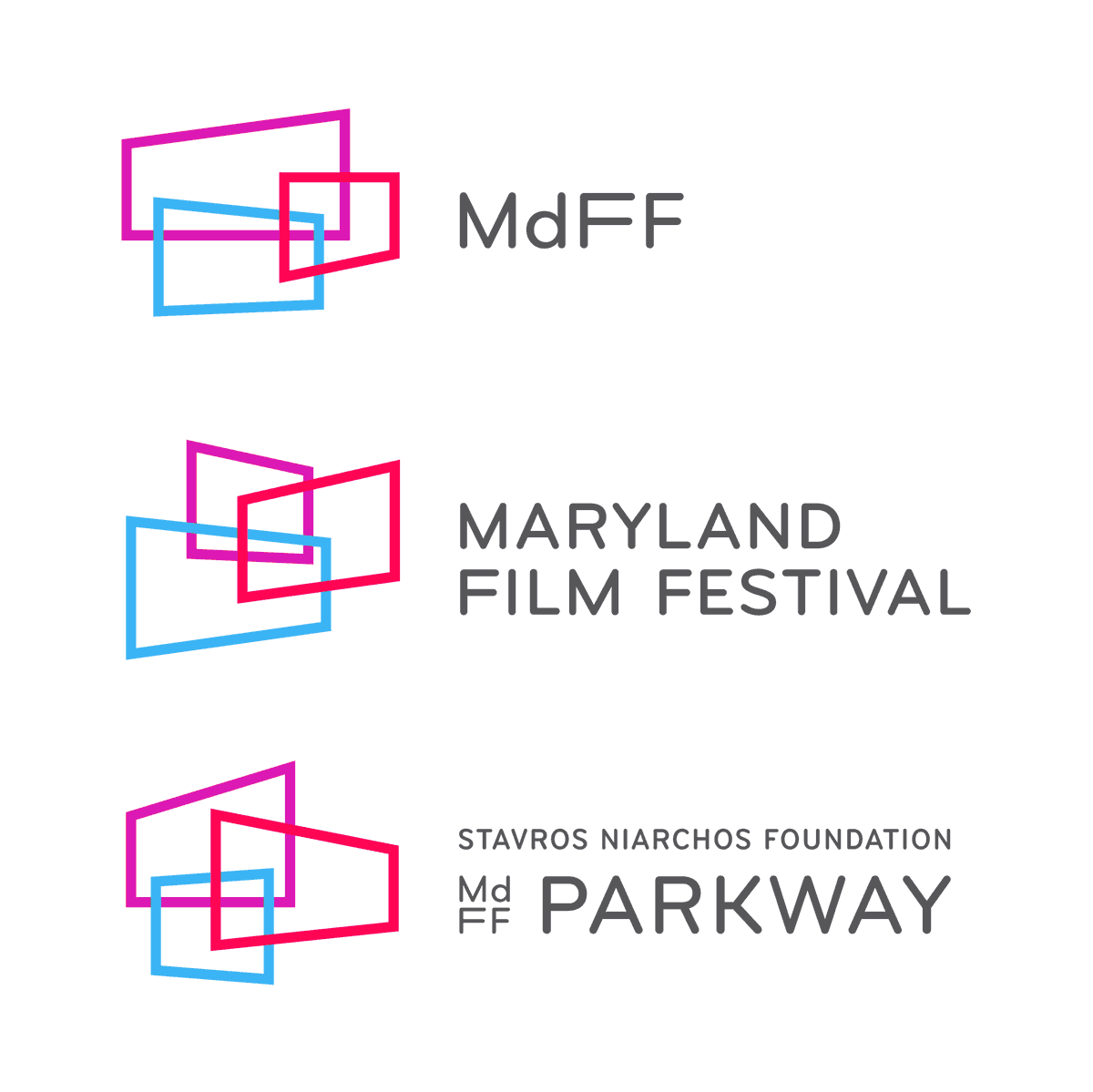 """A flexible family of logos - We renamed the parent organization MdFF to distinguish it from the annual festival. To make the acronym more unique, we represented """"Maryland""""with a lowercase """"d."""" A family of unique marks differentiates each arm of the organization. This flexible system is designed to accommodate future MdFF-branded projects."""
