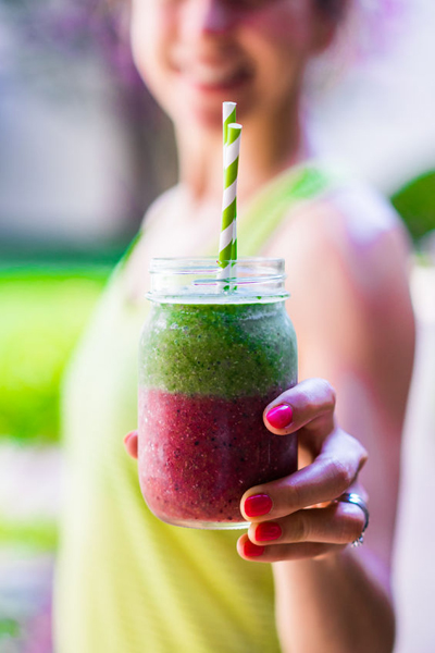 43066593 - fitness girl with colorful smoothie