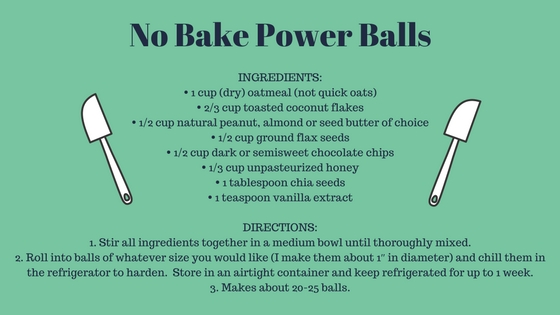 NO BAKE ENERGY POWER BALLSTOTAL TIME_ 10 MINS PREP TIME_ 10 MINS COOK TIME_ 0 MINSINGREDIENTS_• 1 cup (dry) oatmeal (not quick oats)• 2%2F3 cup toasted coconut flakes• 1%2F2 cup peanut butter or almond butter• 1%2F2 cup.jpg
